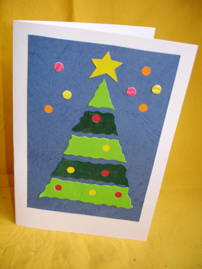 Новогодняя открытка своими руками. Елочка