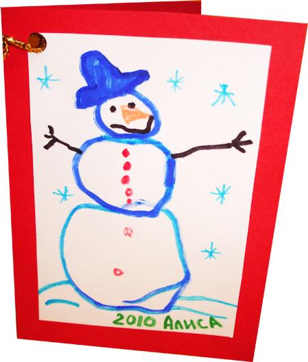 Новогодняя открытка своими руками. Снеговик