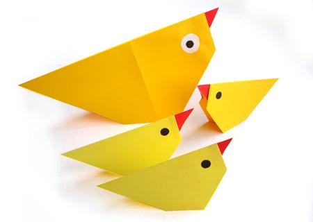 Цыплёнок оригами схема