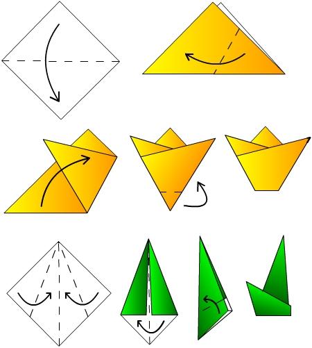 Оригами цветы тюльпаны для детей схема сборки.