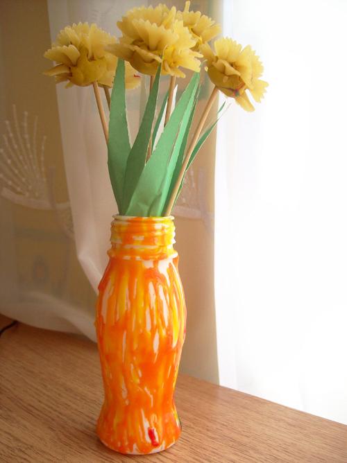 Детская поделка цветы в вазе